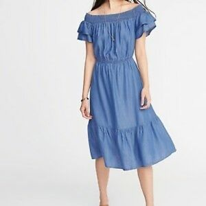 Old Navy | Off the Shoulder Chambray Ruffle Dress